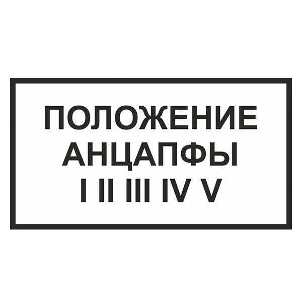 Предупредительный Плакат «Положение анцапфы» 250х140мм