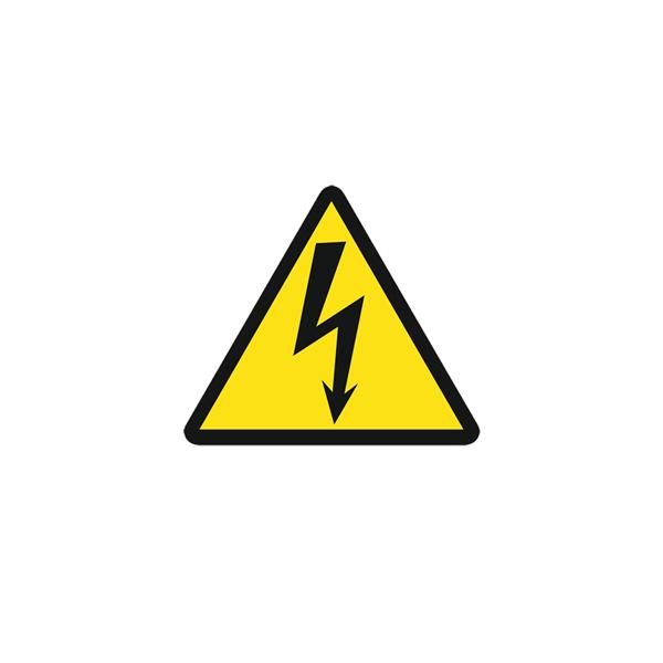 Предупредительный Плакат «Знак постоянный для предупреждения поражения электрическим током» 80х80 (самоклеющийся)